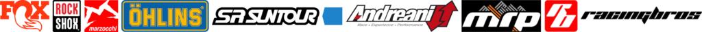 Logo des marques proposées. FOX-ROCKSHOX-MARZOCCHI-ÖHLINS-SRSUNTOUR-ANDREANI GROUPE-MRP-RACINGBROS
